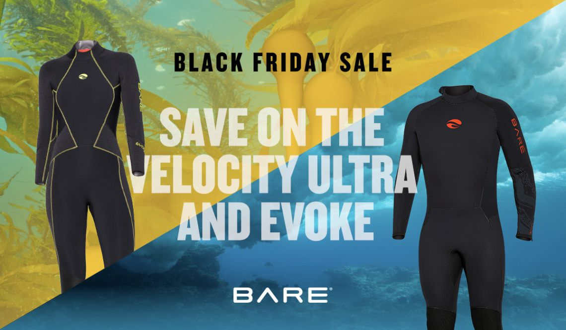 Save up to $130 on a new BARE Velocity Ultra or Evoke wetsuit